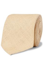 Corbata de seda tejida marrón claro de Drakes