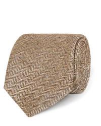 Corbata de seda tejida marrón claro de Dunhill