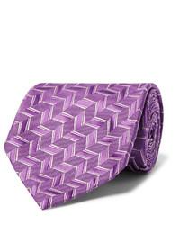 Corbata de seda tejida morado de Charvet