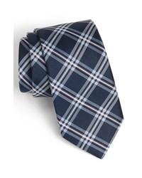 Corbata de tartán azul marino