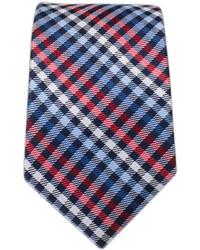 Corbata de tartán en blanco y rojo y azul marino