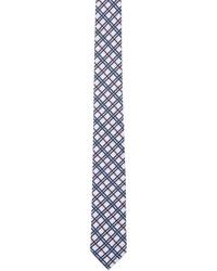 Corbata de tartán en blanco y rojo y azul marino de Thom Browne