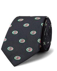Corbata estampada azul marino de Gucci