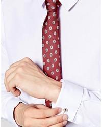 Corbata estampada burdeos de Asos