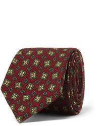 Corbata estampada burdeos de Drakes