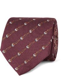 Corbata estampada burdeos de Gucci