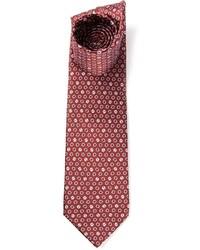 Corbata estampada burdeos de Lanvin