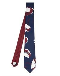 Corbata estampada en azul marino y blanco