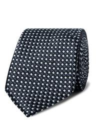 Corbata estampada en azul marino y blanco de Giorgio Armani