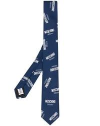 Corbata estampada en azul marino y blanco de Moschino