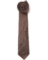 Corbata estampada en marrón oscuro de Lanvin