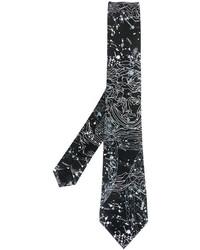 Corbata estampada en negro y blanco de Versace