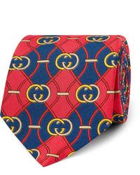 Corbata estampada en rojo y azul marino de Gucci