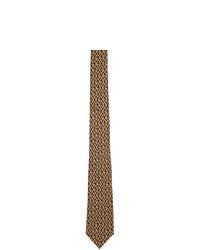 Corbata estampada marrón claro de Gucci