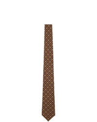 Corbata estampada marrón de Gucci