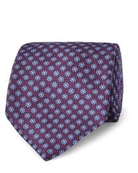 Corbata estampada morado oscuro de Canali