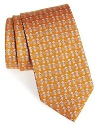 Corbata estampada mostaza