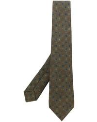 Corbata estampada verde oliva de Kiton