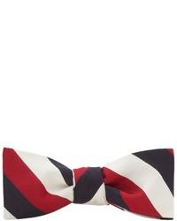 Corbatín en blanco y rojo y azul marino