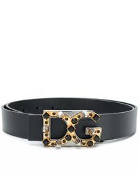 Correa de cuero con adornos negra de Dolce & Gabbana
