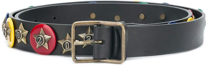 Correa de cuero con adornos negra de DSQUARED2