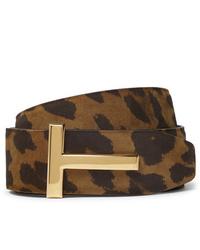 Correa de cuero de leopardo en marrón oscuro de Tom Ford