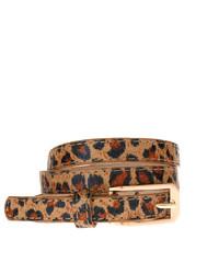 Correa de cuero de leopardo marrón claro de Asos