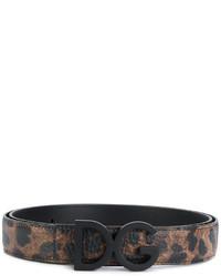 Correa de cuero estampada negra de Dolce & Gabbana