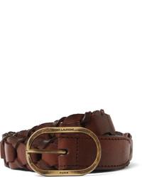 Correa de cuero tejida marrón de Saint Laurent