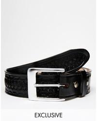 Correa de cuero tejida negra de Reclaimed Vintage