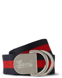 Correa de lona de rayas horizontales azul marino de Gucci