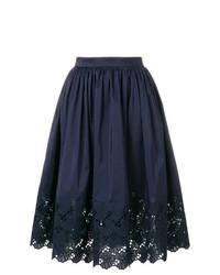 Falda campana bordada azul marino de Lanvin