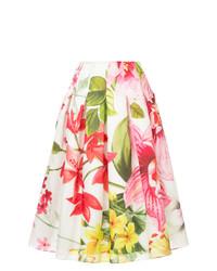 Falda campana con print de flores blanca de Bambah