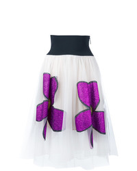 Falda campana con print de flores blanca de Christopher Kane