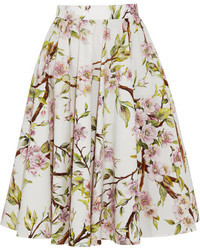 Falda campana con print de flores blanca de Dolce & Gabbana