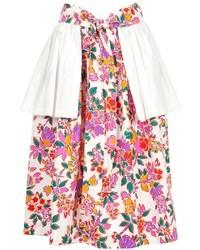 Falda campana con print de flores en blanco y rosa de Saint Laurent