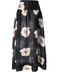 Falda campana con print de flores en negro y blanco de Etoile Isabel Marant