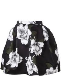 Falda campana con print de flores en negro y blanco de Lanvin