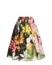 Falda campana con print de flores negra de Bambah