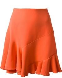 Falda campana de seda naranja