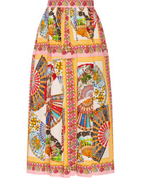 Falda campana estampada rosada de Dolce & Gabbana