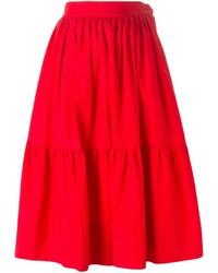 Falda campana roja de Saint Laurent
