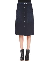 Falda con botones azul marino
