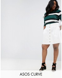 Falda con botones blanca de Asos