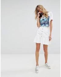 Falda con botones blanca de Mango