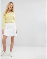 Falda con botones blanca de Only