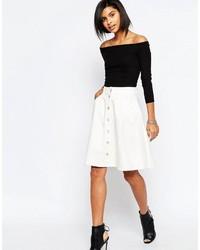 Falda con botones blanca de Vero Moda