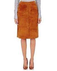 Falda con botones de ante en tabaco