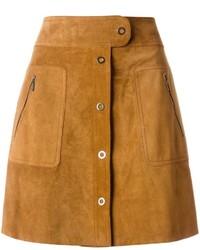 Falda con botones de ante marrón