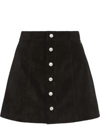 Falda con botones de ante negra